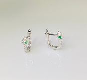 14K White Gold Micro Pave Diamond Mini Snake Earrings 0.10ct