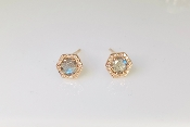14K Rose Gold Labradorite Diamond Stud Earring 0.53ct/0.12ct