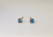 14K Rose Gold Blue Diamond Stud Earrings .17ct