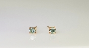 14K Rose Gold Blue Diamond Stud Earrings 0.21ct