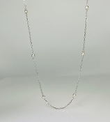 14K White Gold Diamond by the Yard Necklace 0.30ct