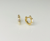 14K Yellow Gold Baguette Diamond Huggie Earrings 0.27ct