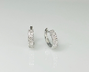14K White Gold Micro Pave Diamond Huggie Earrings .20ct