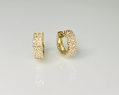 14K Yellow Gold Micro Pave Diamond Huggie Earrings 0.28ct