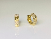 14K Yellow Gold Pyramid Cuff Diamond Earrings 0.22ct