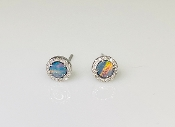 14K White Gold Opal Diamond Stud Earrings 0.47ct/0.10ct