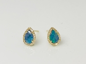 14 Karat Yellow Gold Opal Diamond Stud-E (0.50ct/0.12ct)