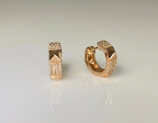 14K Rose Gold Pyramid Cuff Diamond Earrings 0.22ct