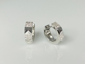 14K White Gold Pyramid Cuff Diamond Earrings 0.22ct