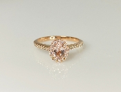 14K Rose Gold Morganite Diamond Ring 0.36ct/0.28ct