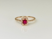 14K Rose Gold Burmese Ruby Diamond Ring 0.26ct/0.16ct