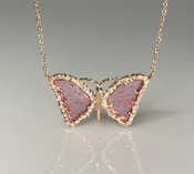 14K Rose Gold Watermelon Tourmaline Butterfly Necklace 2.85ct