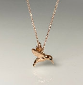 14K Rose Gold Black Diamond Hummingbird Necklace