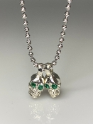 Emerald Evil Twins Skull Necklace