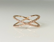 14K Rose Gold Diamond X Ring 0.22ct