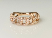 14K Rose Gold Diamond Chain Ring 0.70ct