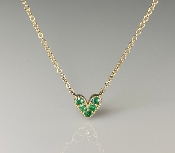 14K Yellow Gold Emerald Heart Necklace 0.12ct