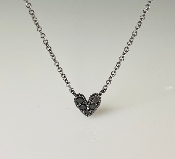 14K Black Rhodium White Gold Black Diamond Heart Necklace 0.14ct
