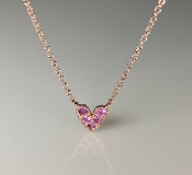14K Rose Gold Pink Sapphire Heart Necklace 0.14ct