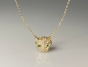 14K Yellow Gold Diamond and Emerald Panther Necklace