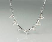 14K White Gold 7 Triangle Diamond Necklace 0.40ct