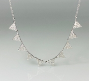 14K White Gold 10 Triangle Diamond Necklace 0.55ct