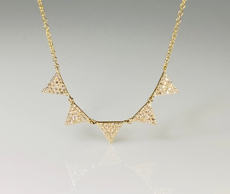 14K Yellow Gold 5 Triangle Diamond Necklace 0.28ct
