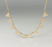 14K Yellow Gold 10 Triangle Diamond Necklace 0.55ct