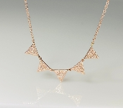 14K Rose Gold 5 Triangle Diamond Necklace 0.24ct