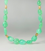 14 Karat Yellow Gold Chrysoprase Diamond Necklace