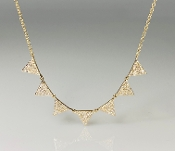14K Yellow Gold 7 Triangle Diamond Necklace 0.40ct