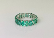 14K White Gold Emerald Eternity Ring 4.24ct