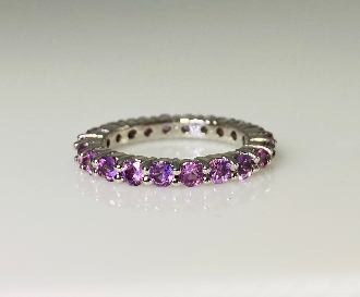 14 Karat White Gold Pink & Purple Sapphire Ring (2.38ct)