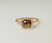 14K Rose Gold Champagne and White Diamond Ring 0.81ct/0.31ct
