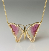 14K Yellow Gold Watermelon Tourmaline Butterfly Necklace 4.75ct