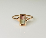 14K Rose Gold Watermelon Tourmaline Ring 0.80ct