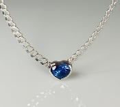 14K White Gold Heart Shaped Royal Blue Sapphire Necklace 1.03ct