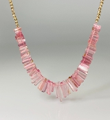 14K Yellow Gold Disco Ball Bead and Pink Tourmaline Necklace