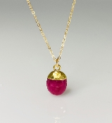 Faceted Oval Ruby Necklace 8x10mm