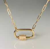 14K Yellow Gold Diamond Carabiner Necklace 0.17ct