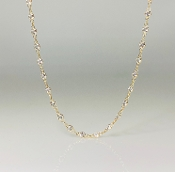 14K Yellow Gold White Topaz Bezel Necklace size 16-18""