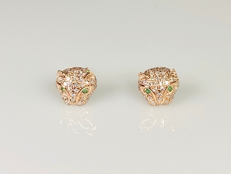 14K Rose Gold Diamond/Emerald Panther Earrings (0.28/0.02ct)