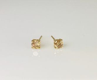 14K Yellow Gold Champagne Diamond Stud Earrings 0.44ct
