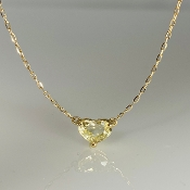 14K Yellow Gold Yellow Sapphire Heart Necklace 1.66ct