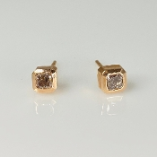 14K Rose Gold Champagne Diamond Stud Earrings 0.65ct