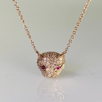 14 Karat Rose Gold Diamond and Ruby Panther Necklace