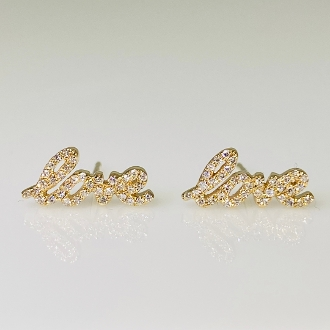 14K Yellow Gold Diamond Love Earrings 0.15ct