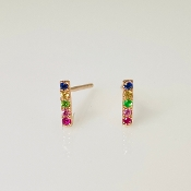 14K Rose Gold Sapphire Ruby Tsavorite Bar Earrings .10ct