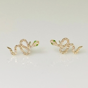 14 K Yellow Gold Diamond Snake Earrings 0.15ct