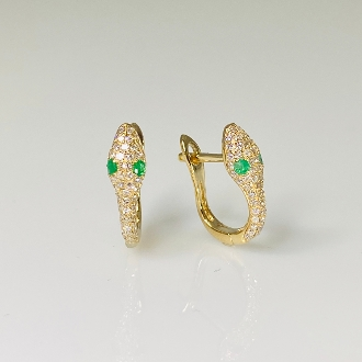 14K Yellow Gold Diamond/Emerald Snake Earrings(0.28/0.06ct)